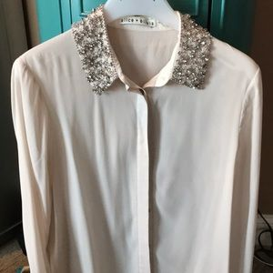Alice and Olivia beaded collar blouse